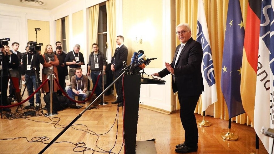 German Foreign Minister Frank-Walter Steinmeier gives a statement at the Hotel Atlantic before the start of the OSCE Meeting in Hamburg, Germany,  Wednesday, Dec. 7, 2016. More than 50 Foreign ministers are expected for the conference of the Organization for Security and Co-operation in Europe on Dec. 8 and 9, 2016.   (Christian Charisius/dpa via AP)