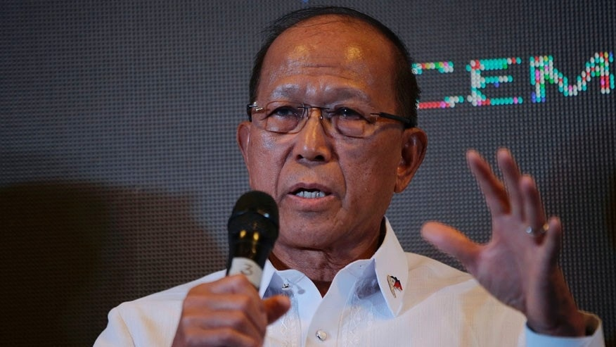 Philippine Defense Secretary Delfin Lorenzana gestures during a conference in Makati, south of Manila, Philippines on Thursday, Dec. 8, 2016