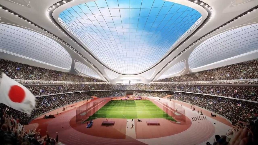 The new stadium being built for the 2020 Olympics in Tokyo