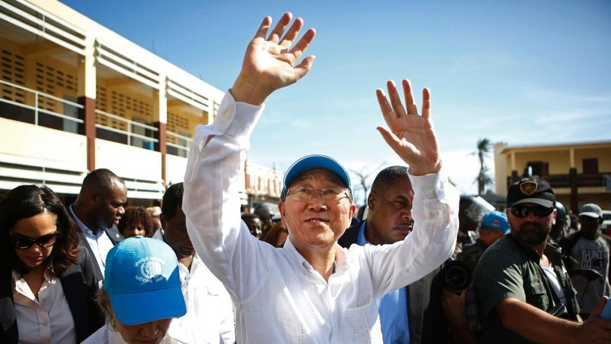 FILE - Saturday, Oct. 15, 2016, file photo, United Nations Secretary-General Ban Ki-moon waves to people whose homes were destroyed by Hurricane Matthew, as he visits a school where they have sought shelter, in Les Cayes, Haiti. With lawmakers voting to impeach her over an explosive corruption scandal, South Korean President Park Geun-hye's days in office seem numbered. Her potential successors include the outgoing secretary general of the United Nations, an ambitious mayor compared to both Donald Trump and Bernie Sanders and the man who lost the presidential election to Park four years ago. (AP Photo/Rebecca Blackwell, File)