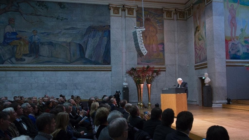 Former US Secretary of State Henry Kissinger speaks at the Nobel Peace Prize Forum in Oslo, Sunday, Dec. 11, 2016. (Terje Bendiksby/NTB scanpix via AP)