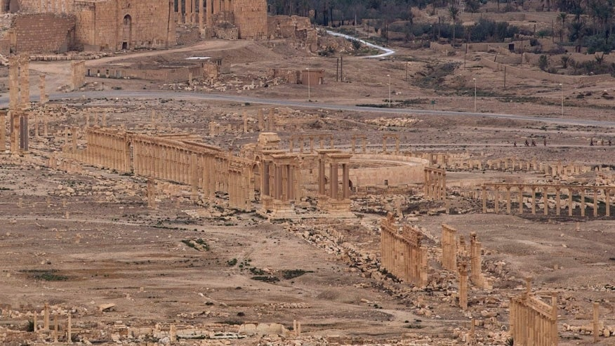 This Thursday, April 14, 2016, file photo shows the ancient city of Palmyra in the central city of Homs, Syria, Thursday, April 14, 2016. Russia says its air force has helped Syrian troops repulse an Islamic State attack on Palmyra, but opposition activists say the extremists have seized areas on the outskirts of the town, including a historic castle that overlooks ancient ruins. (AP Photo/Hassan Ammar, File)