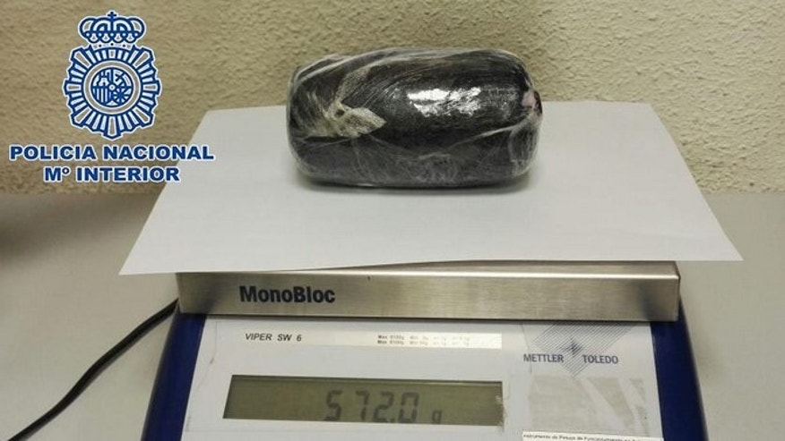 One of the cocaine loads found inside the women by Barajas Airport officers.