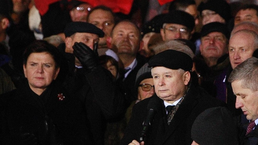 Law and Justice (PiS) party leader Jaroslaw Kaczynski, right, speaks during the demonstration organized by Polish party Law and Justice on the 35th anniversary of the introduction of martial law at Three Crosses Square, in Warsaw, Poland, Tuesday, Dec. 13, 2016. (AP Photo/Czarek Sokolowski)