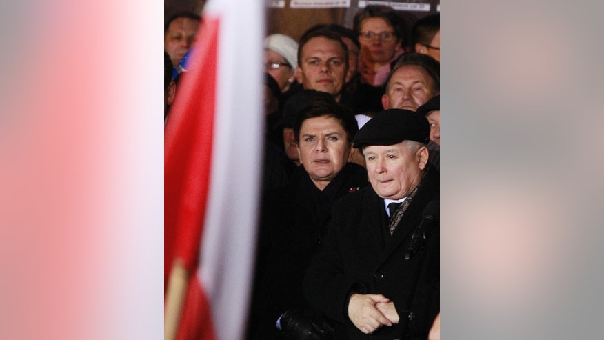 Law and Justice (PiS) party leader Jaroslaw Kaczynski, right, speaks during the demonstration organized by Polish party Law and Justice on the 35th anniversary of the introduction of martial law at Three Crosses Square, in Warsaw, Poland, Tuesday, Dec. 13, 2016.(AP Photo/Czarek Sokolowski)