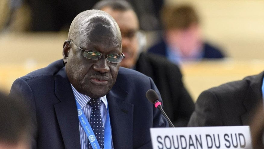 Ambassador Kuol Alor Kuol Arop, representative of South Sudan, speaks during the Human Rights Council on the human rights situation in South Sudan, at the UN headquarters in Geneva, Switzerland, Wednesday, Dec. 14, 2016. (Martial Trezzini/Keystone via AP)