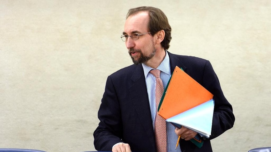 UN High Commissioner for Human Rights Zeid Ra'ad al-Hussein arrives for the Human Rights Council on the human rights situation in South Sudan at the United Nations Human Rights Council at the UN headquarters in Geneva, Switzerland, Wednesday, Dec. 14, 2016. (Martial Trezzini/Keystone via AP)