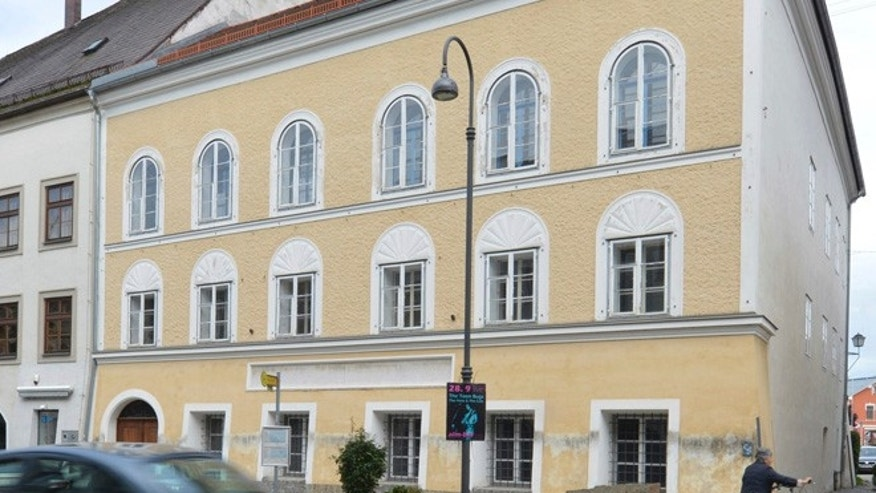 FILE - This Sept. 27, 2012 file picture shows an exterior view of Adolf Hitler's birth house, front, in Braunau am Inn, Austria.