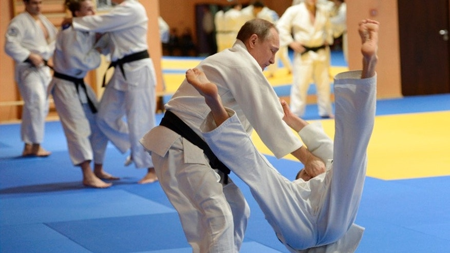 Russian President Vladimir Putin, left, during Russia's national Judo team training session in Sochi, in January.