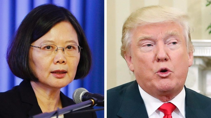 This combination of two 2016 file photos shows, Taiwan's President Tsai Ing-wen, left, speaking at a ceremony at the Gen. Andres Rodriguez school in Asuncion, Paraguay, on June 29, and U.S. and President-elect Donald Trump talking with President Barack Obama at White House in Washington, U.S.A. As Taiwan becomes a contentious issue between China and U.S. President-elect Donald Trump, people on the island are hoping it will lead to closer ties with Washington but are wary of becoming a bargaining chip between the world's two largest economies. Trump's Dec. 2 phone call with Taiwanese President Tsai Ing-wen raised expectations that he will upgrade relations with the self-governing island that Washington has maintained only unofficial ties with since 1979. (AP Photo/Jorge Saenz, Pablo Martinez Monsivais, Files)