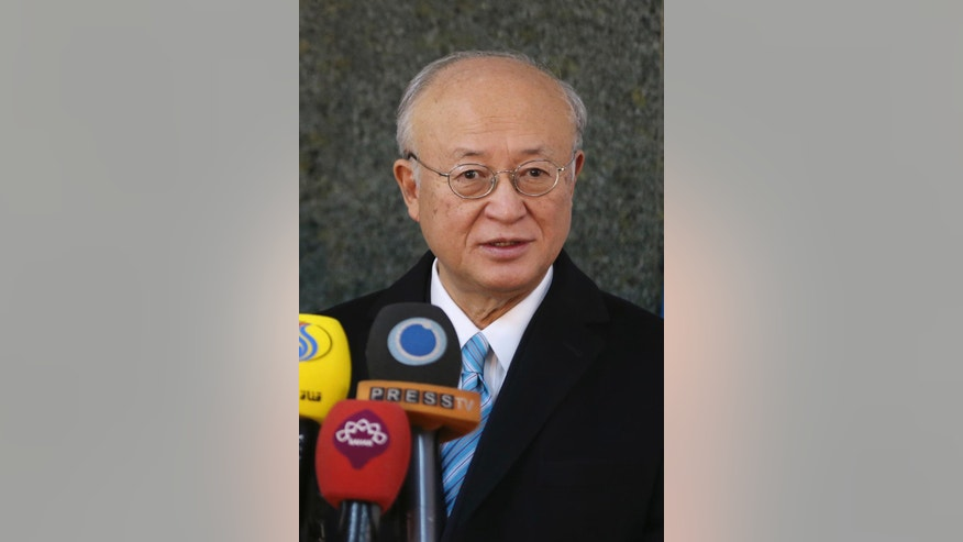 International Atomic Energy Agency Director General Yukiya Amano speaks during a joint news briefing with Iran's Atomic Energy Organization chief Ali Akbar Salehi after their meeting in Tehran, Iran, Sunday, Dec. 18, 2016. (AP Photo/Vahid Salemi)