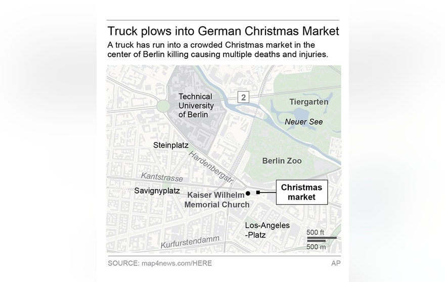 Map locates Christmas market where the truck attack happened; 2c x 4 inches; 96.3 mm x 101 mm;