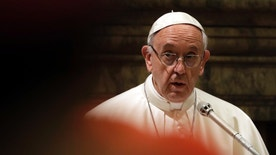 Pope Francis delivers his message to prelates on the occasion of his Christmas greetings to the Roman Curia in the Clementine Hall, at the Vatican, Thursday, Dec. 22, 2016. (AP Photo/Gregorio Borgia, Pool)
