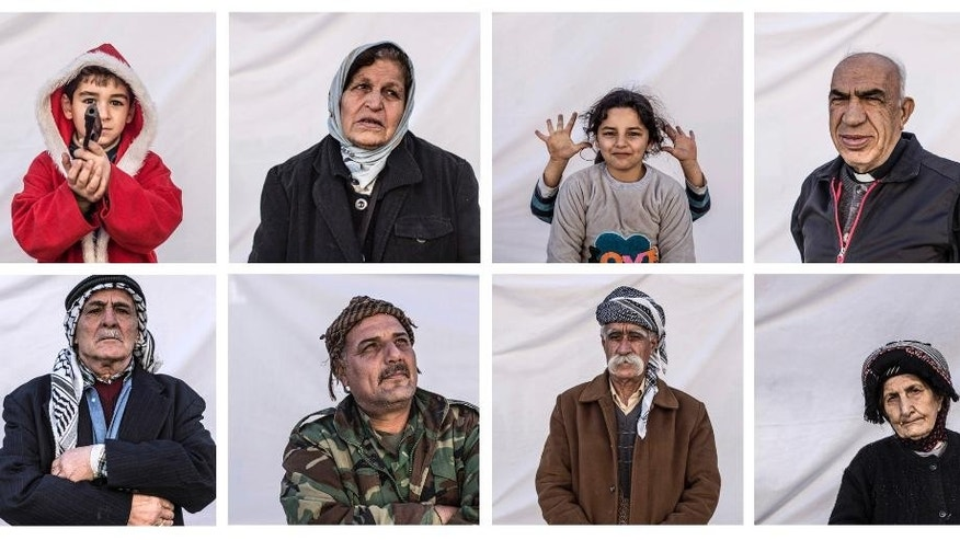 COMBO- this combination of eight portraits shows residents if the the Karamlis complex, where Christians displaced by Islamic State militants are living, in Irbil, Iraq, Friday, Dec. 23, 2016. Iraq's Christians are marking the holiday in his camp for displaced people with a sense of worry and despair,  unable to return to their towns they were forced to flee two years ago by the Islamic State group's onslaught. (AP Photo/Manu Brabo)