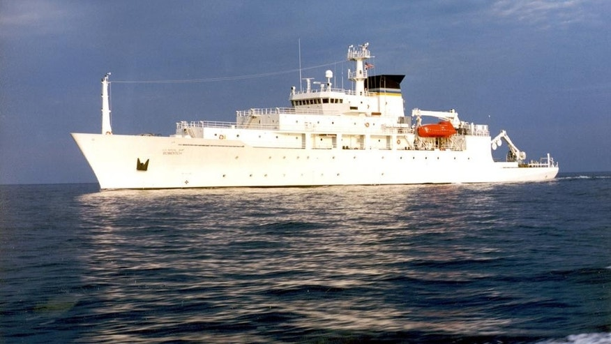 FILE - In this undated file photo released by the U.S. Navy Visual News Service, the USNS Bowditch, a T-AGS 60 Class Oceanographic Survey Ship, sails in open water. After China returned an underwater glider it seized from the U.S. Navy off the coast of the Philippines, the Philippine defense secretary said his government would put both Washington and Beijing on notice against what he called their unauthorized presence in the country's 200-mile exclusive economic zone. (CHINFO, Navy Visual News via AP, File)