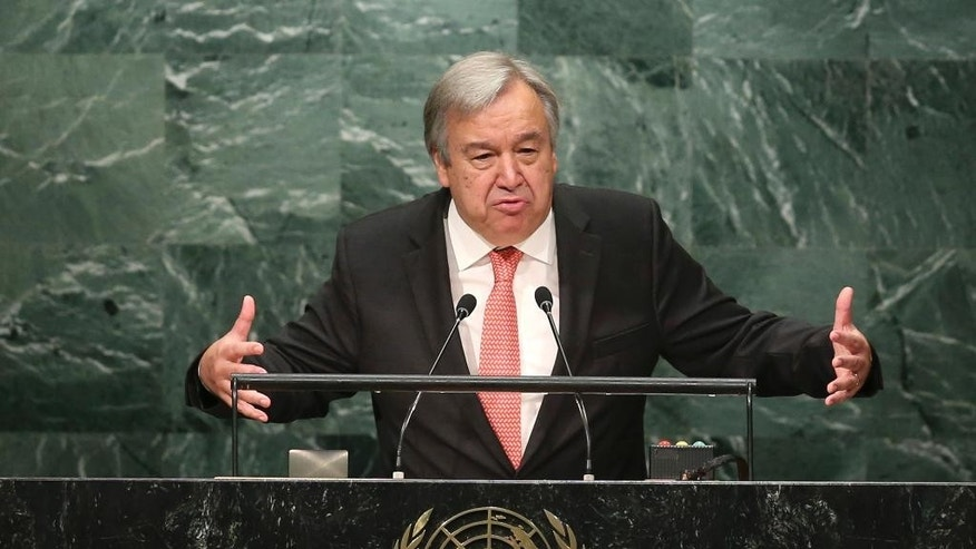 "FILE - In this Oct. 13, 2016 file photo, Antonio Guterres of Portugal, Secretary-General designate of the United Nations, speaks during his appointment at U.N. headquarters. Guterres begins a five year term as the organization's Secretary General on Sunday, Jan. 1, 2017. Guterres takes the reins of the United Nations on New Year's Day, promising to be a ""bridge-builder"" but facing an antagonistic incoming U.S. administration led by Donald Trump who thinks the world body's 193 member states do nothing except talk and have a good time. (AP Photo/Seth Wenig, File)"