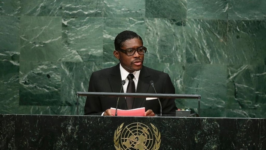 FILE - In this Wednesday, Sept. 30, 2015, Teodoro Nguema Obiang Mangue, Vice-President of Equatorial Guinea, speaks during the 70th session of the United Nations General Assembly at U.N. headquarters. The son of Equatorial Guinea's president is going on trial in France for corruption, money laundering and embezzlement after a years-long investigation. (AP Photo/Frank Franklin II, File)