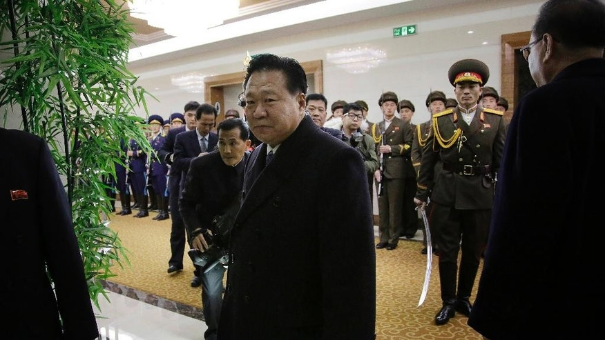 Choe Ryong Hae, vice chairman of North Korea's State Affairs Commission makes his way to the departure gates at the Pyongyang Airport after inspecting honor guards on Friday, Jan. 6, 2017, in Pyongyang, North Korea. Hae was headed to Nicaragua to attend the inauguration of their newly elected President Daniel Ortega. (AP Photo/Wong Maye-E)