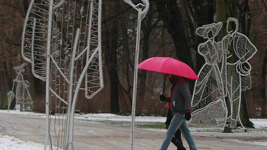 A couple seeks protection from falling snow under a pink umbrella as they walk through the Lazienki park in Warsaw, Poland, Wednesday, Jan. 4, 2017. (AP Photo/Czarek Sokolowski)