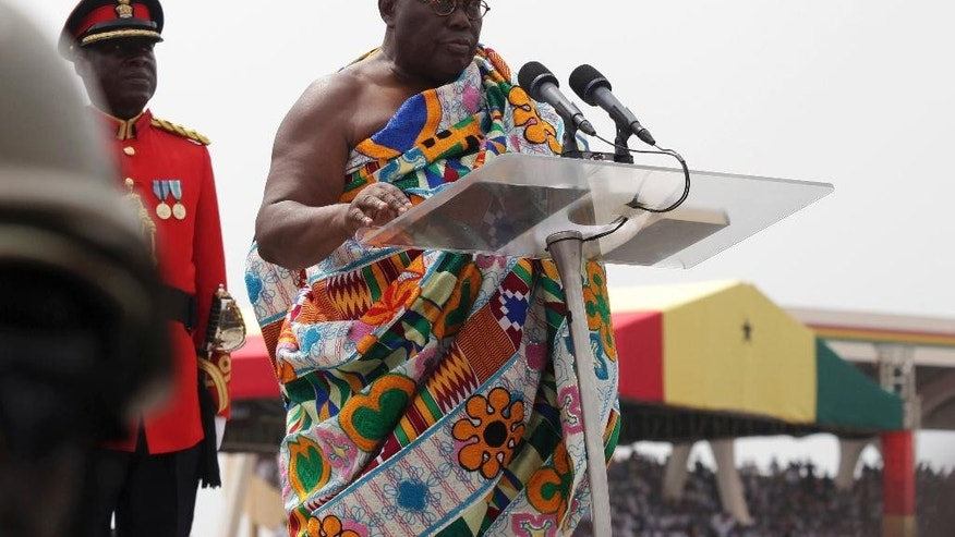 Ghana President elect Nana Akufo-Addo speaks during his inauguration ceremony in Accra, Ghana, Saturday Jan. 7, 2017. Ghana's chief justice swore in the nation's newly elected President Nana Akufo-Addo amid a sea of people dressed in the red, blue and white colors of his party. Akufo-Addo, 72, won the Dec. 7 election on his third run for the office, defeating incumbent John Dramani Mahama. (AP Photo)