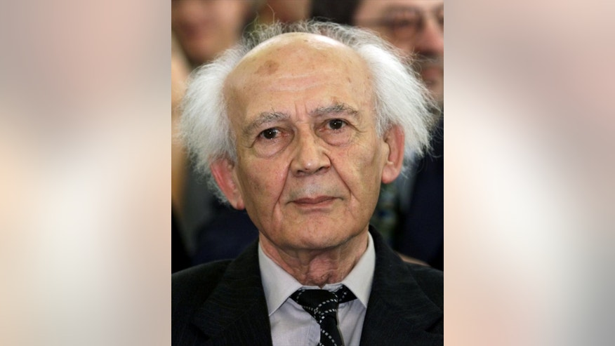 Polish sociologist Zygmunt Bauman, attends a ceremony in Frankfurt, Germany, Sunday, Sept. 13, 1998, where he received the Theodor W. Adorno-Prize. Bauman, one of the most prominent and prolific European sociologists of recent decades, has died at the age of 91.  (AP Photo/Heribert Proepper)
