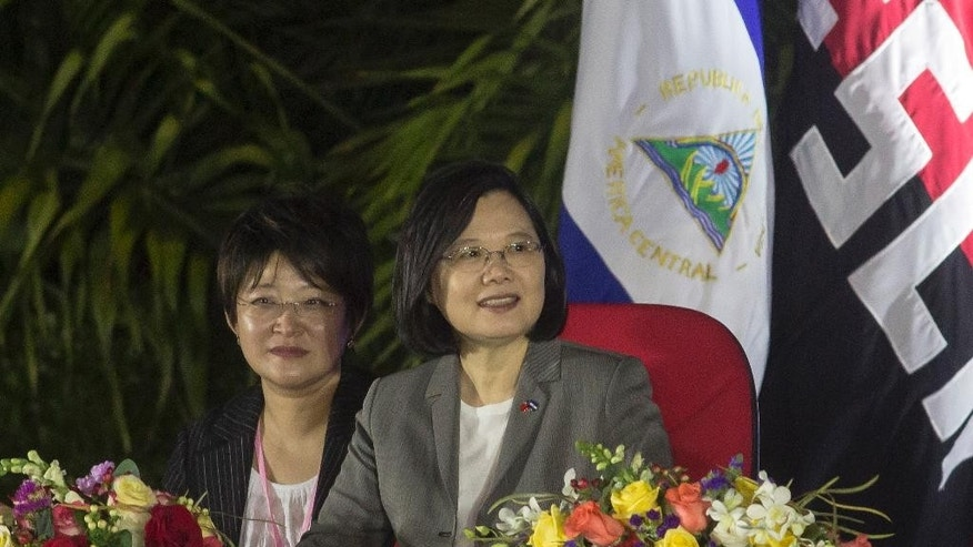 Taiwan's President Tsai Ing-wen attends the inauguration ceremony of Nicaraguan President Daniel Ortega in Managua, Nicaragua, Tuesday, Jan. 10, 2017. The Taiwanese leader is in Nicaragua as part of a weeklong state tour to reinforce Taiwanese relations in Central America. (AP Photo/Miguel Alvarez)