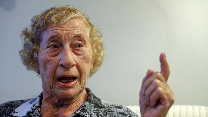 "In this Dec.19, 2016 photo, Auschwitz survivor Cyrla Gewertz speaks during a interview in Sao Paulo, Brazil. ""I don't know what I feel"" about Josef Mengele's bones being studied, Gewertz, a 92-year-old Holocaust survivor. ""I already have too many painful memories of him and what he did to me and others at Auschwitz. These are memories I cannot erase from my mind."" (AP Photo/Andre Penner)"