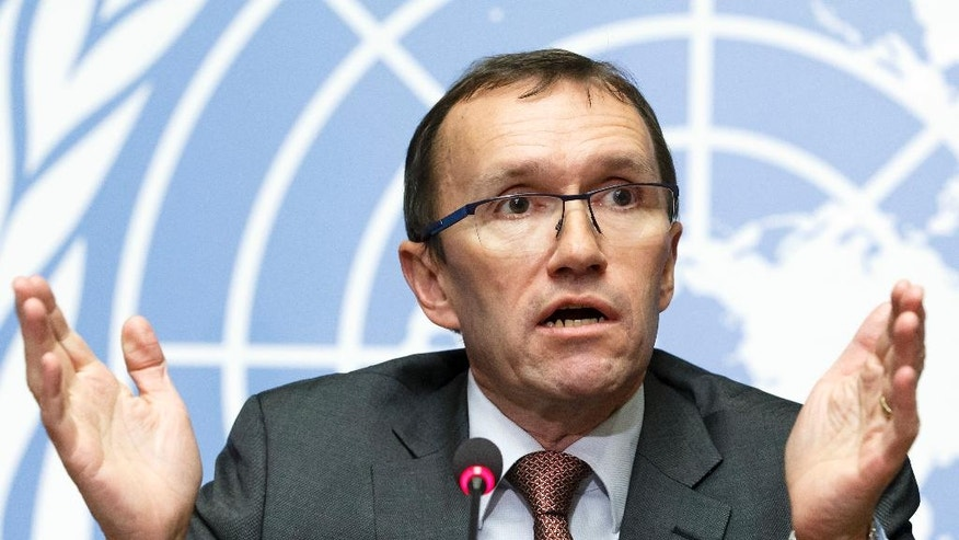 United Nations Special Advisor of the Secretary-General on Cyprus Espen Barth Eide speaks to the media about the Cyprus Peace Talks, during a press conference, at the European headquarters of the United Nations in Geneva, Switzerland, Wednesday, Jan. 11,, 2017.  (Salvatore Di Nolfi/Keystone via AP)