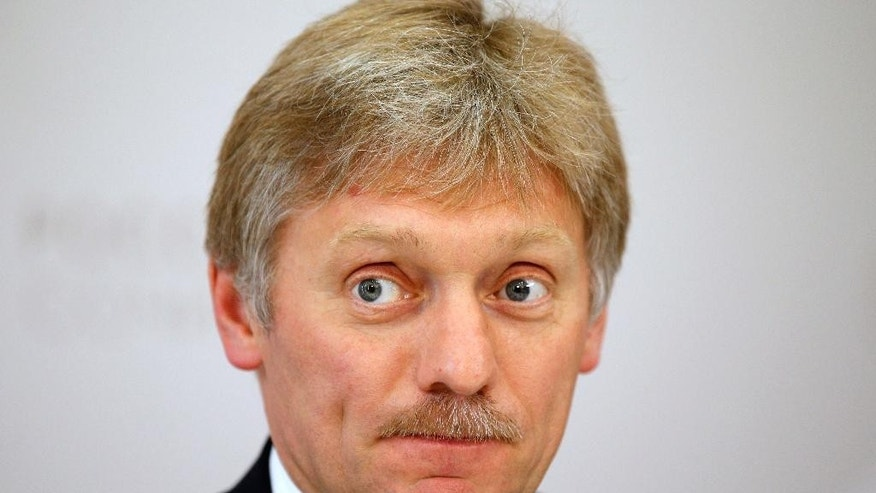 "FILE In this file photo taken on Thursday, May 19, 2016, Russian President Vladimir Putin's press secretary Dmitry Peskov listens for a question during his news conference at the ASEAN Russia summit, in the Black Sea resort of Sochi, Russia. A spokesman for President Vladimir Putin on Wednesday Jan 11, 2017 denied allegations that the Kremlin has collected compromising information about U.S. President-elect Donald Trump, deriding the claim as a ""complete fabrication and utter nonsense."" (AP Photo/Alexander Zemlianichenko, file)"