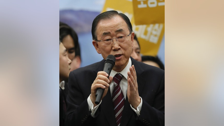 Former U.N. Secretary-General Ban Ki-moon delivers a speech upon his arrival at the Incheon International Airport in Incheon, South Korea, Thursday, Jan. 12, 2017. The former U.N. Secretary-General has returned to native South Korea amid widespread expectations he'll run for president. (AP Photo/Lee Jin-man)