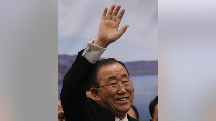 Former U.N. Secretary-General Ban Ki-moon waves his hand to supporters upon his arrival at the Incheon International Airport in Incheon, South Korea, Thursday, Jan. 12, 2017. The former U.N. Secretary-General  has returned to native South Korea amid widespread expectations he'll run for president. (AP Photo/Lee Jin-man)
