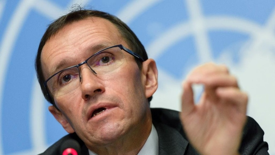 United Nations Special Advisor for Cyprus Espen Barth Eide speaks about the Cyprus peace talks during a news conference at the European headquarters of the United Nations in Geneva, Switzerland, Friday, Jan. 13, 2017. (Martial Trezzini/Keystone via AP)