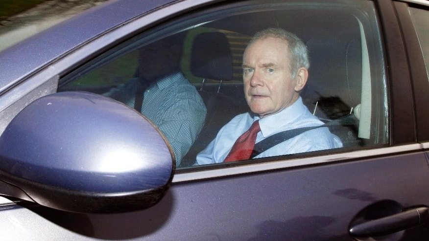 Former deputy Northern Ireland First Minister Martin McGuinness arrives at Stormont, Belfast, Northern Ireland, Monday, Jan. 16, 2017. The Northern Ireland Assembly faces likely dissolution for an election that could make revival of a Catholic-Protestant government more difficult following the recent resignation by Martin McGuinness. (AP Photo/Peter Morrison)