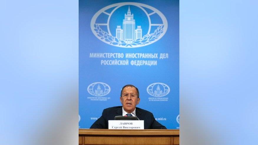 Russian Foreign Minister Sergey Lavrov speaks during his annual roundup news conference summing up his ministry's work in 2016, in Moscow, Russia, Tuesday, Jan. 17, 2017. Lavrov said Russia hopes new U.S. administration will be represented at the Syria talks in Astana, Kazakhstan. (AP Photo/Ivan Sekretarev)