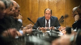 Russian Foreign Minister Sergey Lavrov, center, holds a meeting in Moscow, Russia, Monday, Jan. 16, 2017. Lavrov is meeting with representatives of Palestinian political parties and movements. (AP Photo/Pavel Golovkin)