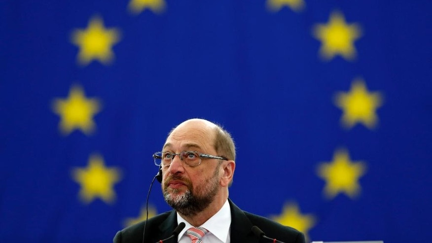Outgoing European Parliament president Martin Schulz, of Germany, looks up before the vote for the presidency of the European Parliament in Strasbourg, eastern France, Tuesday, Jan. 17, 2017. The European Parliament picks a success to its outgoing socialist President Martin Schulz. Unlike previous occasions the race is still open as the legislature meets. (AP Photo/Jean-Francois Badias)