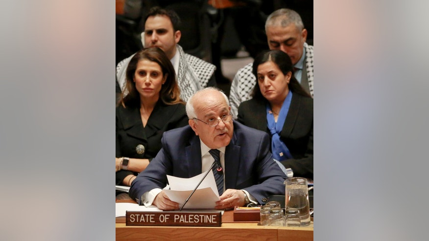 Palestine U.N. Ambassador Riyad Mansour addresses a Security Council debate on the Middle East conflict Tuesday, Jan. 17, 2017, at UN headquarters. (AP Photo/Bebeto Matthews)