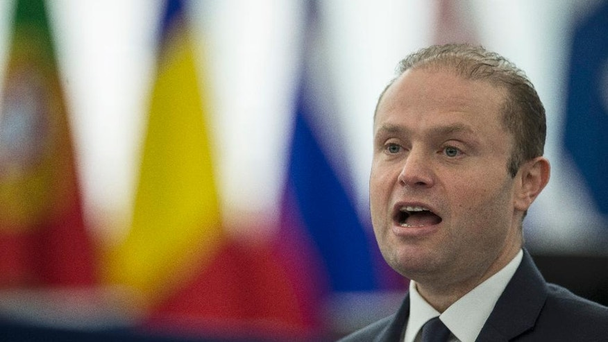 Malta's Prime Minister Joseph Muscat, whose country holds the European Union's presidency, addresses members of the European Parliament in Strasbourg, eastern France, Wednesday, Jan. 18, 2017. Antonio Tajani of the EPP Christian Democrat group was elected president of the European Parliament on Tuesday in a daylong polling series during which he defeated his socialist opponent. (AP Photo/Jean-Francois Badias)