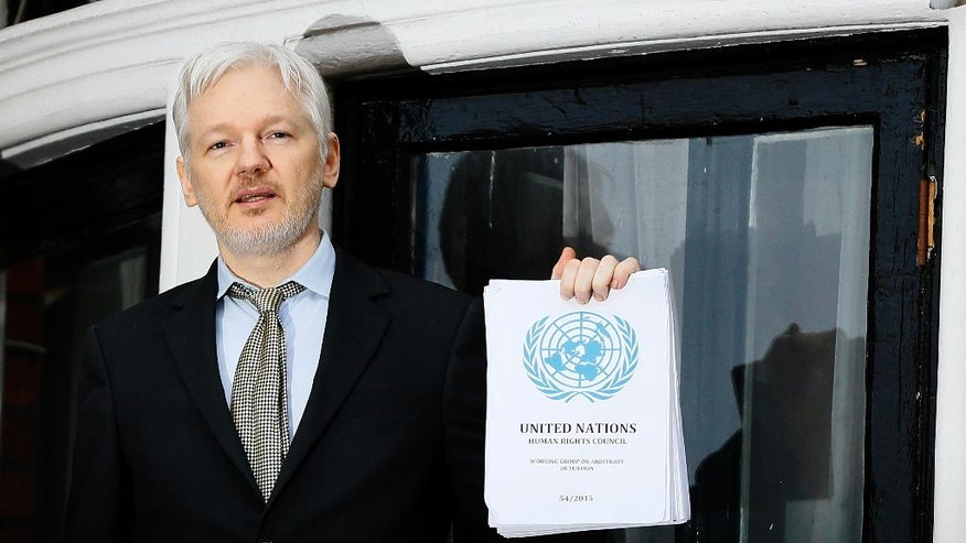 "FILE - In this Feb. 5, 2016, file photo WikiLeaks founder Julian Assange speaks on the balcony of the Ecuadorean Embassy in London. President Barack Obama's decision to commute Chelsea Manning's sentence quickly brought fresh attention to another figure involved in the Army leaker's case: Julian Assange. In a tweet in early January 2017, Assange's anti-secrecy site WikiLeaks wrote, ""If Obama grants Manning clemency Assange will agree to US extradition despite clear unconstitutionality of DoJ case."" (AP Photo/Kirsty Wigglesworth, File)"