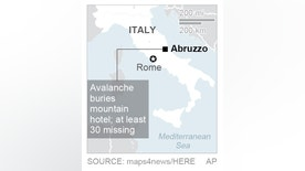 Map locates Abruzzo region in Italy; 1c x 2 inches; 46.5 mm x 50 mm;