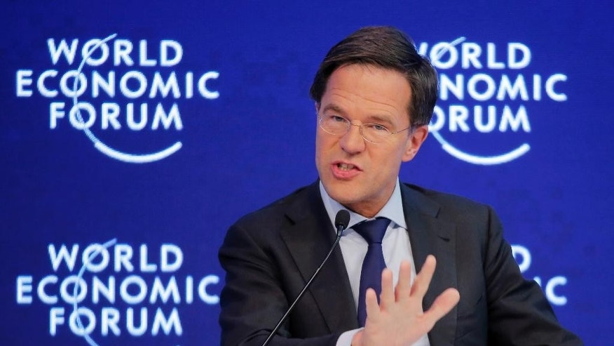 CORRECTS DATE - Dutch Prime Minister Mark Rutte speaks on the third day of the annual meeting of the World Economic Forum in Davos, Switzerland, Thursday, Jan. 19, 2017.  (AP Photo/Michel Euler)