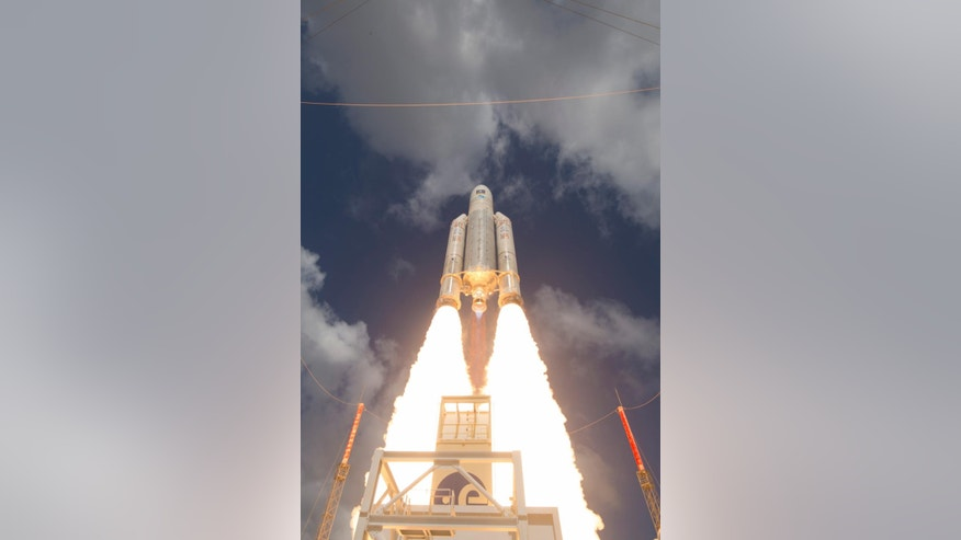 This Nov. 17, 2016 photo shows the liftoff of Ariane flight VA233, carrying four Galileo satellites, from Europe's Spaceport in Kourou, French Guiana. The European Space Agency, ESA, opened an investigation on Thursday, Jan. 19, 2017, into anomalies that have affected five of the first 18 Galileo satellites in orbit. The agency, which launched the navigation system last December, said however that the failures are not affecting the satellites' proper functioning. (Stephane Corvaja/ESA via AP)