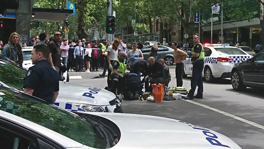 Jan. 20, 2017: Police and emergency services gather at the scene after a car hit pedestrians in Bourke Street Mall in Melbourne, Australia.