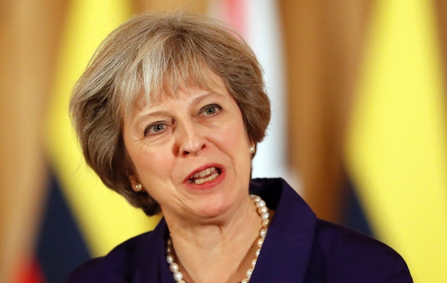 FILE - This is a Wednesday, Nov. 2, 2016 file photo of Britain's Prime Minister Theresa May speaks during a press statement with Colombia's President Juan Manuel Santos at 10 Downing Street in London. Britain's High Court  brought government plans for leaving the European Union screeching to a halt Thursday, Nov. 3, 2016 ruling that the prime minister can't trigger the U.K.'s exit from the bloc without approval from Parliament.  (AP Photo/Kirsty Wigglesworth, pool, File)