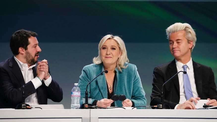 FILE - In this Jan. 29, 2016 file photo Northern League leader Matteo Salvini, French far right leader Marine Le Pen and Firebrand Dutch lawmaker Geert Wilders attend a press conference on the second day of a 2-day convention of European nationalists, in Milan, Italy. On Saturday, Jan. 21, 2017 - a day after the inauguration of the 45th president of the United States -  nationalist leaders from Germany, France, the Netherlands and Italy plan to spell out a vision for Europe at a meeting in Koblenz, Germany, that will echo many of Donald Trump's talking points on immigration, Islam and relations with Russia. (AP Photo/Antonio Calanni, file)