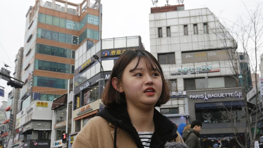 "In this Jan. 21, 2017 photo, South Korean college student Kim Eun-sol, 19, speaks during an interview with The Associated Press in Seoul, South Korea. ""Trump wants to keep China in check and that would escalate conflict, which can also affect our country,"" said Kim. A demand for South Korea to pay more for U.S. forces in the country, or pressure to renegotiate a free-trade agreement ""would cause a crack in the South Korea-U.S. alliance,"" said Kim. (AP Photo/Ahn Young-joon)"