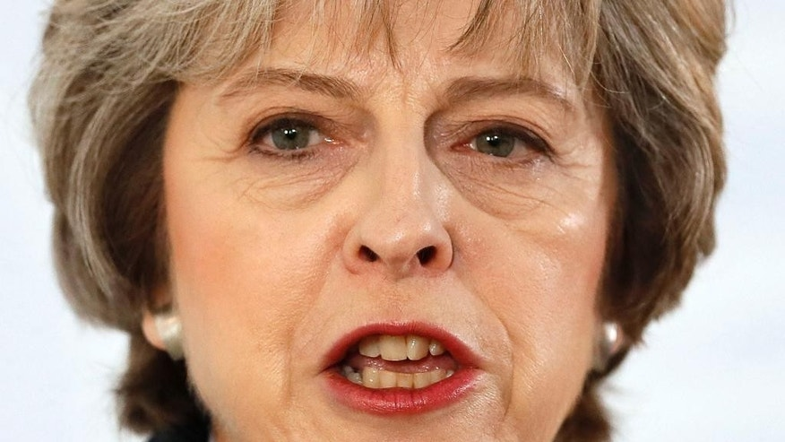 Britain's Prime Minister Theresa May delivers a speech on leaving the European Union at Lancaster House in London, Tuesday, Jan. 17, 2017. (AP Photo/Kirsty Wigglesworth, pool)