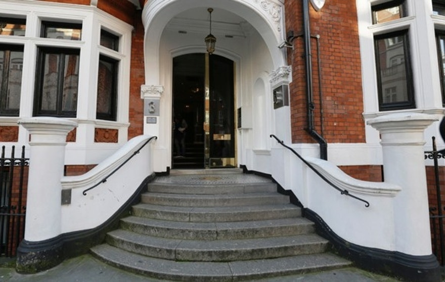 General view of the Ecuadorian Embassy, in London, Monday, Oct. 12, 2015. British police have removed the officers standing watch over Julian Assange outside the Ecuadorean Embassy in London, but say they will still do their best to arrest the WikiLeaks founder who has been holed up there since June 2012. London's Metropolitan Police said in a statement Monday that Assange is still subject to arrest for failing to answer a rape charge in Sweden. (AP Photo/Tim Ireland)