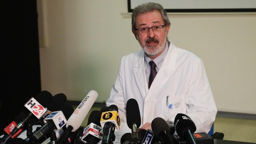 Director of the Santo Spirito hospital, Rossano Di Nuzio, meets the media in Pescara, central Italy, Monday, Jan. 23, 2017. Rescue crews are considering whether to start using heavy equipment to speed up the search for 23 people still buried under the ruins of a central Italy hotel crushed by an avalanche. (AP Photo/Gregorio Borgia)