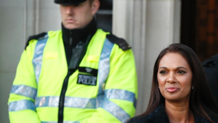 Gina Miller, the lead claimant in the legal fight to get Parliament to vote on whether Britain can start the process of leaving the European Union, arrives at the Supreme Court in London, Tuesday, Jan. 24, 2017. Britain's Supreme Court will rule Tuesday on whether the prime minister or Parliament has the right to trigger the process of taking Britain out of the EU. (AP Photo/Kirsty Wigglesworth)